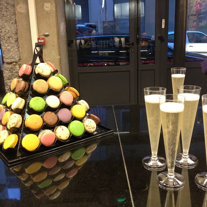 champagne et macarons