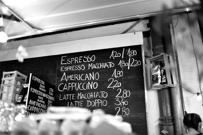 coffee board black and white