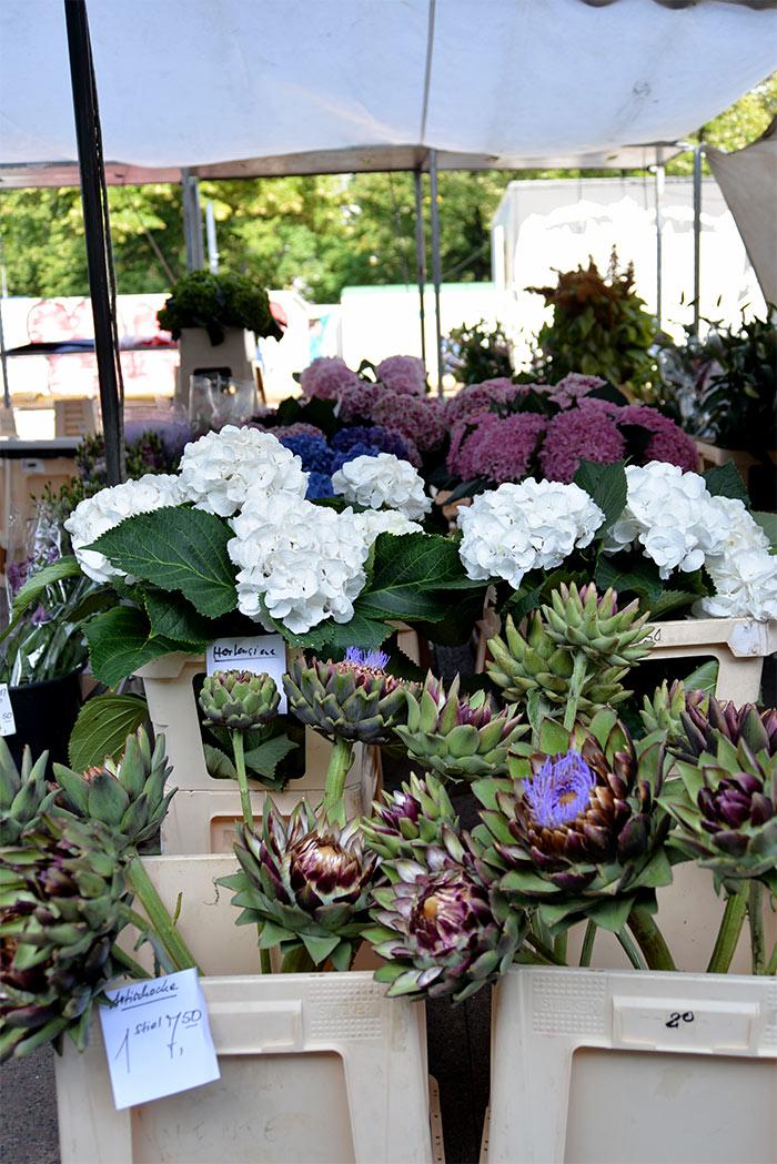 bouquet hortensia et artichaut