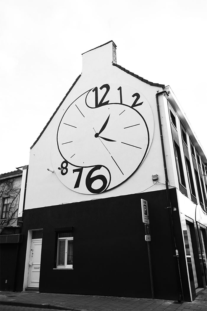 gent house with clock