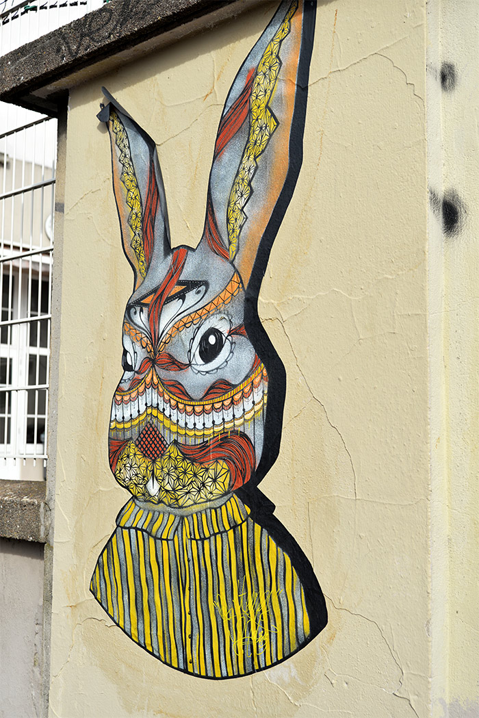 lapin collage street art lyon
