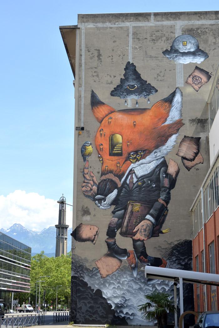 Veks Van Hillik streetart Grenoble renard