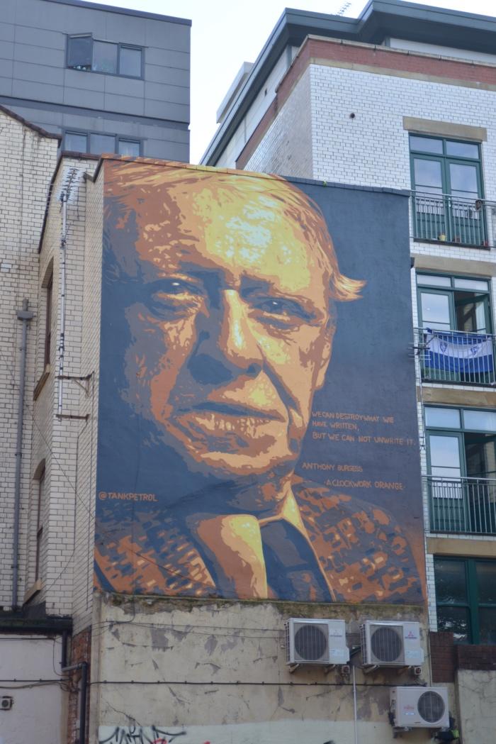 Anthony Burgess street art Tank Petrol Manchester