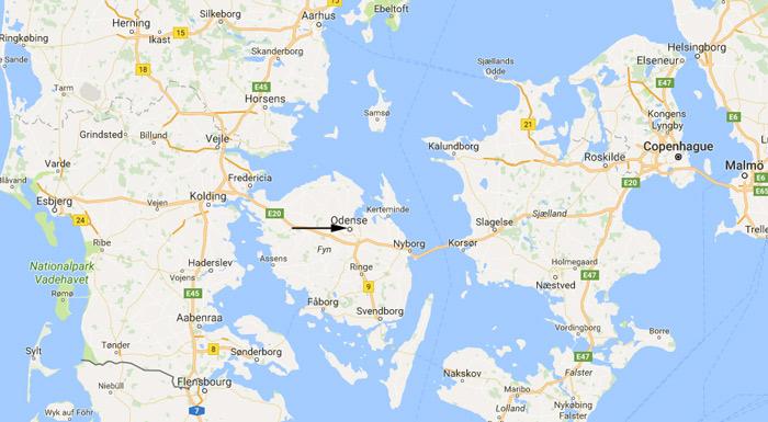 Danemark Odense map