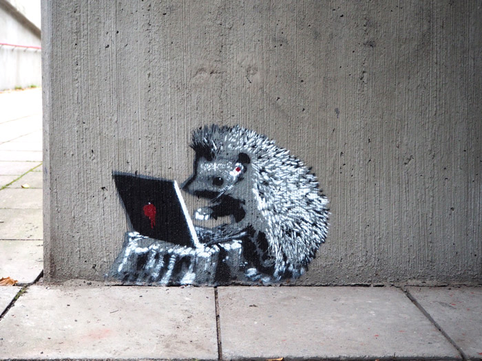 hedgehog helsinki street art
