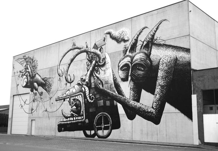 Phlegm street art Crystal Ship Ostende