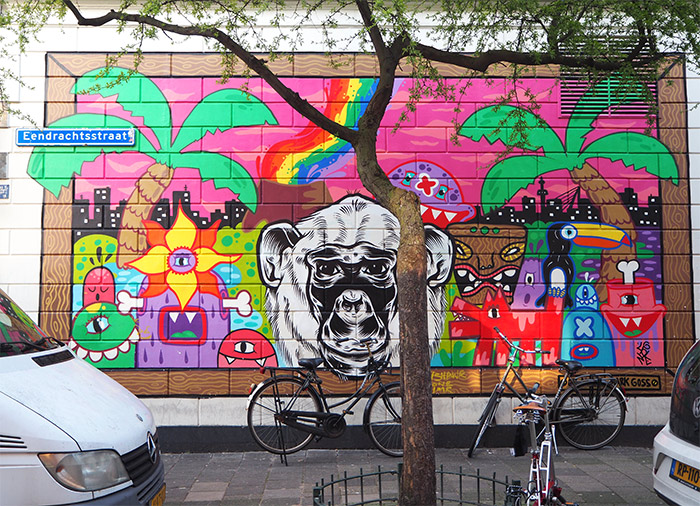 singe blanc rotterdam street art
