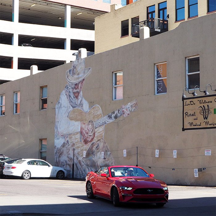 Downtown Denver street art cow boy