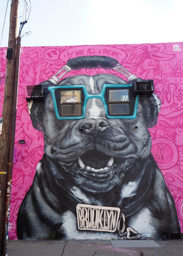 bushwick ubiera dog mural pink