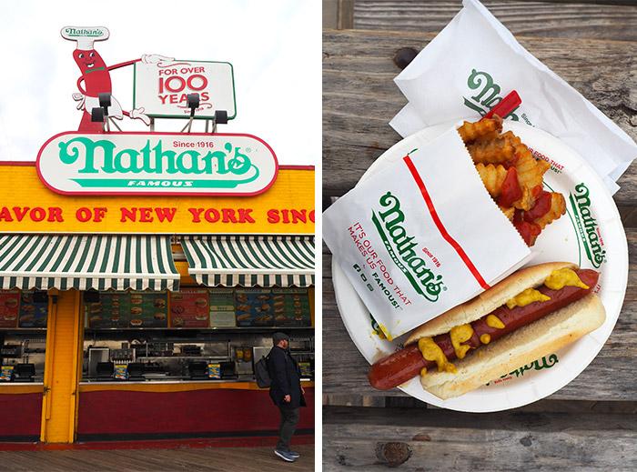 nathans famous coney island brooklyn hot dog