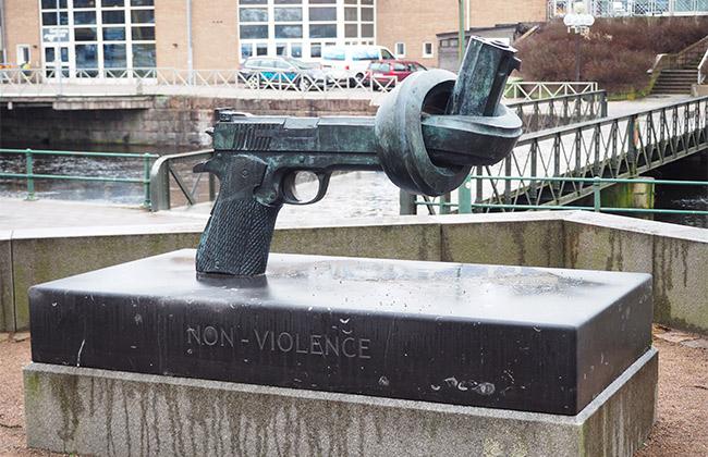 no violence sculpture boras suede