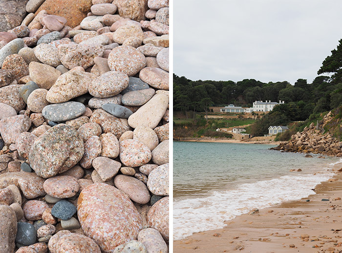 plage jersey cailloux galets