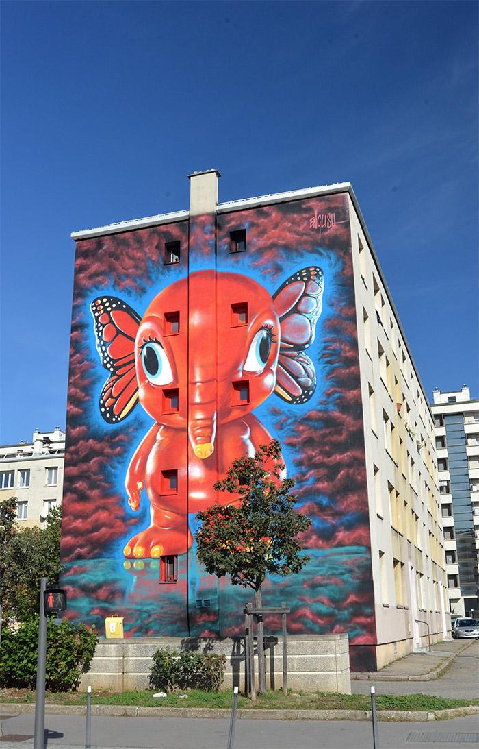 elephant ron english street art