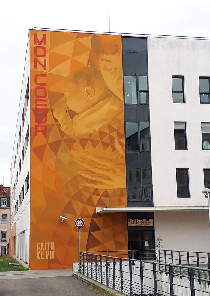 mon coeur red faith47 hopital street art