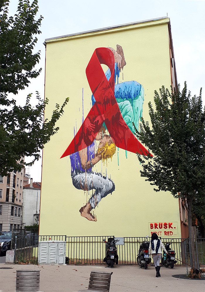 brusk street art lyon red mur69