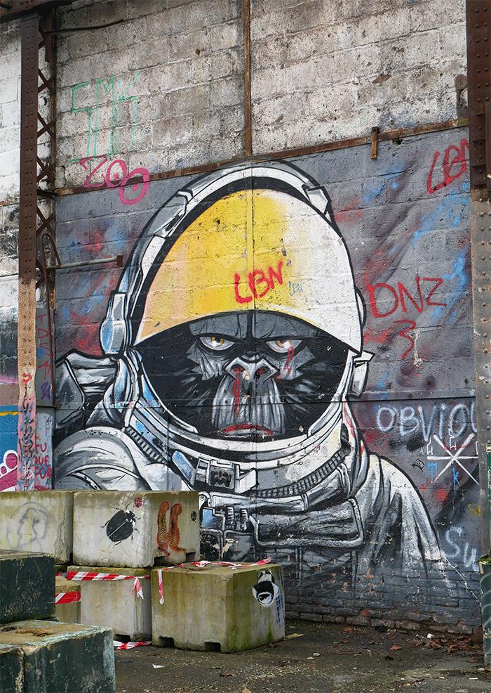 redon street art Lélé gorille friche