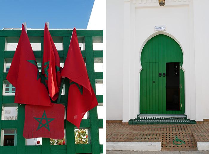 Maroc Assilah drapeau marocain mosquee
