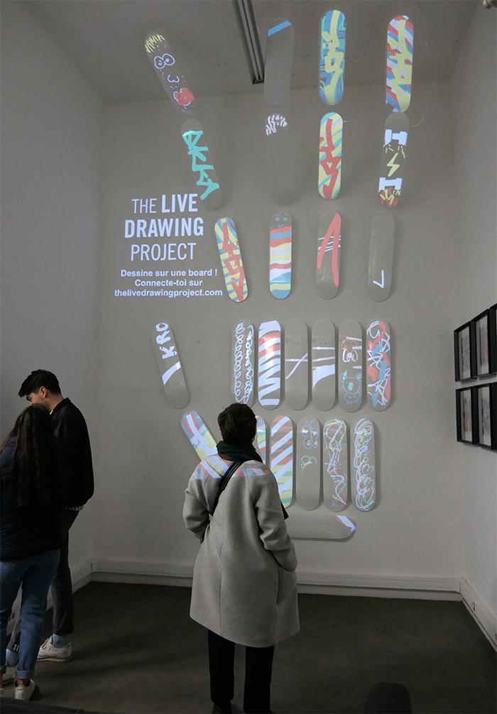 live drawing project lyon spraying board