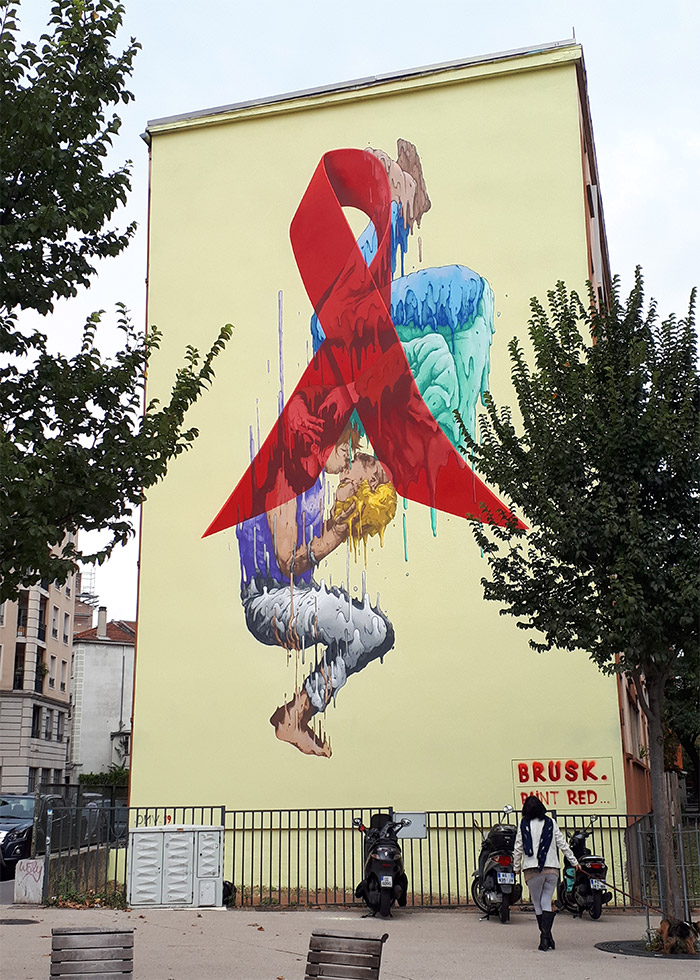 brusk lyon croix rousse red street art