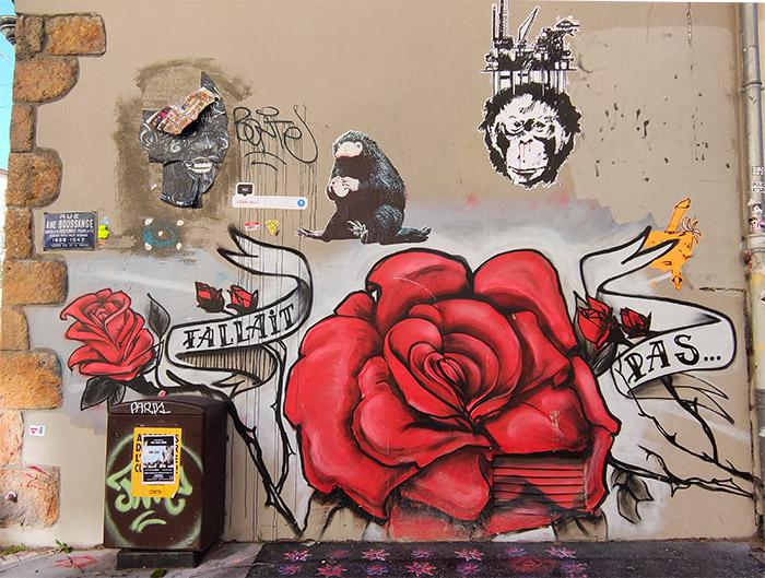 street art croix rousse georges de loup