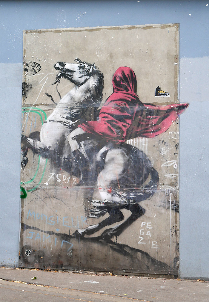 banksy red horseman paris