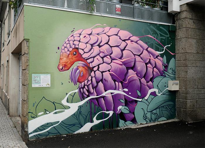 kalouf street art morlaix pangolin